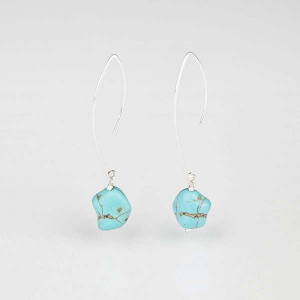 Turquoise Hooks Silver Earrings -Opuline