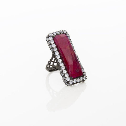 Eleni Ruby and Zirconia Handmade Ring - Opuline