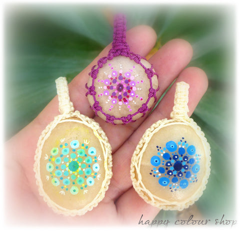 eco-friendly mandala painted desert stone pendants