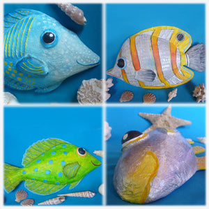 eco-friendly papermache fish wall decor sculptures by HappyColourShop - Angie Barth