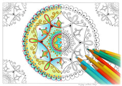 handdrawn mandala coloring page for adults by Angie's HappyColourShop