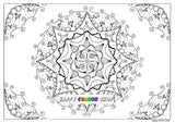 Mandala colouring page, instant download