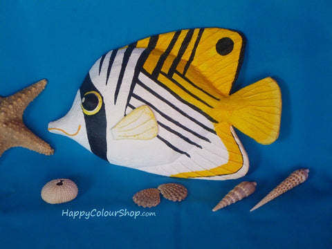 Smiling papier-mache Butterfly fish