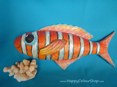 Smiling orange/silver papier-mache fish