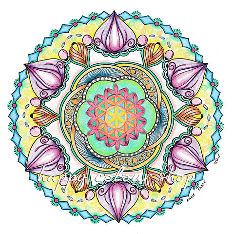 Original handdrawn mandala art, made in the desert by Angie Barth