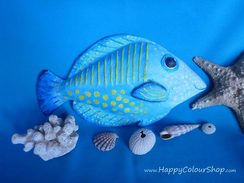 Smiling blue/yellow fish