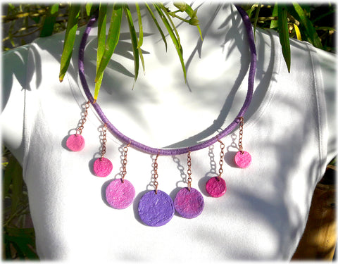 ecofriendly handmade purple paper mache necklace with purple wrapped cord