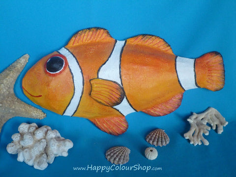 Smiling red papier-mache clownfish