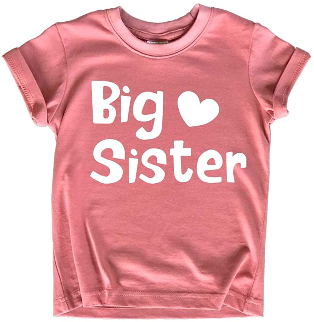 Big Sister Shirt Toddler Girl Promoted Outfit Baby Girls Announcement Heart tee
