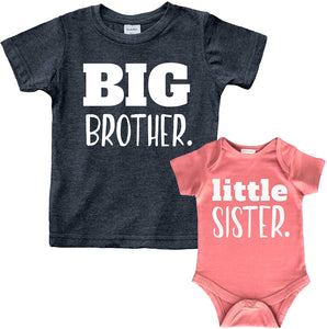 Big Brother Little Sister Outfits Shirt Sibling Shirts Matching Baby Newborn Girl Outfit
