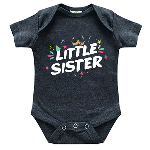 little sister newborn outfit crown baby girl announcement reveal matching bodysuit