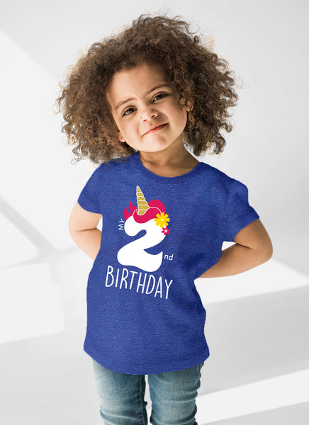 Unicorn 2nd Birthday Outfits for Toddler Girls Two Year Old 2 Shirt Girl Second