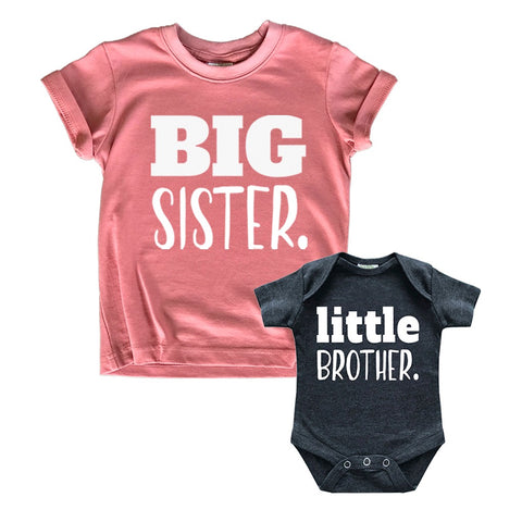 Big Sister Little Brother Outfit | Matching Shirts Sets | Baby Newborn Outfits Shirt