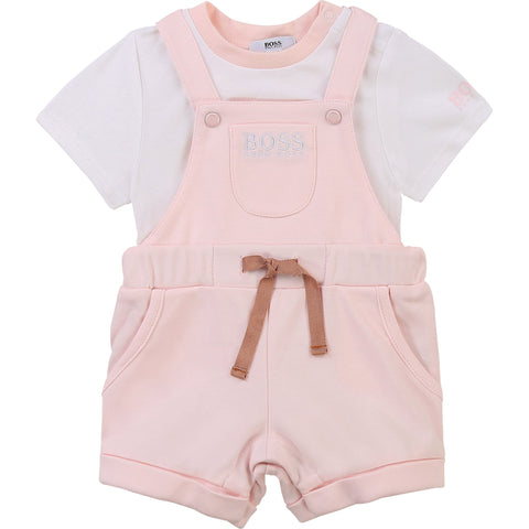 Pink BOSS Dungaree and T-Shirt Set