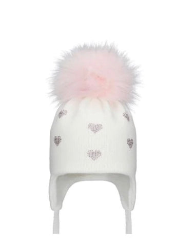 Pom Pom Envy White/Pink Hearts