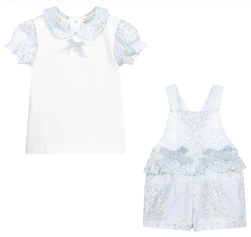 Patachou Girls Floral Dungaree Set