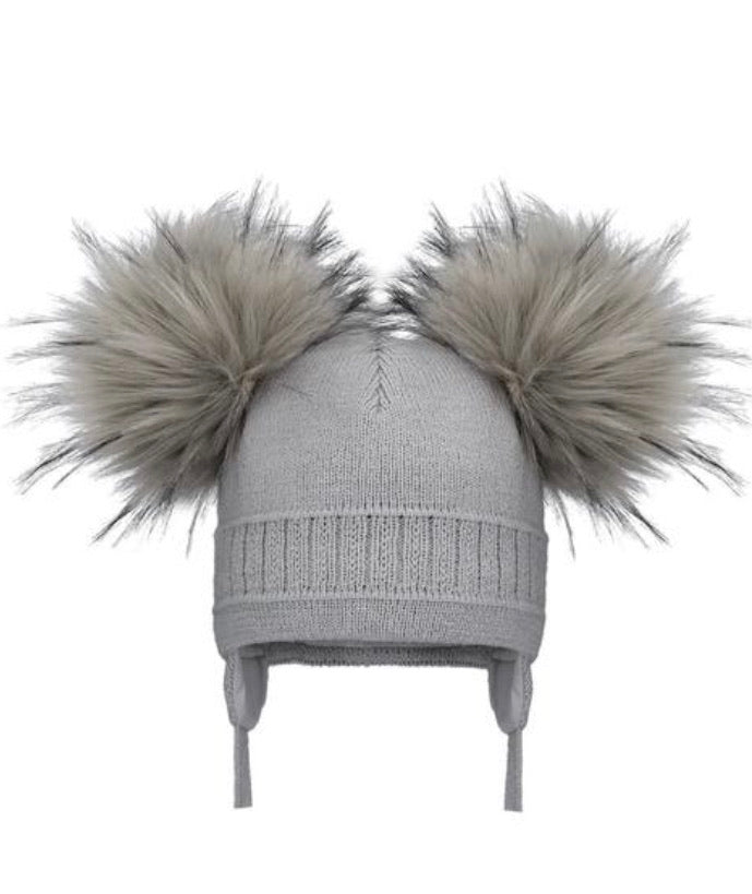 Pom Pom Envy Grey Double Hat