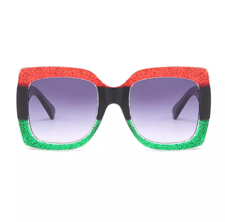 JOYA GLITTER STRIPE RECTANGLE SUNGLASSES