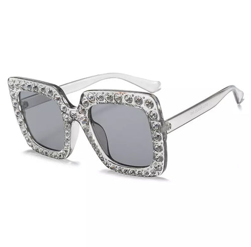 JODIE EMBELLISHED RECTANGLE SUNGLASSES