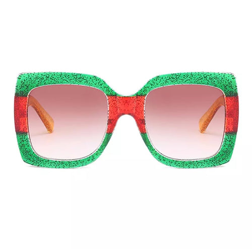 RUBY GLITTER STRIPE RECTANGLE SUNGLASSES