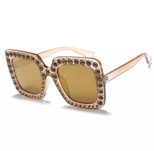CASSEY EMBELLISHED RECTANGLE SUNGLASSES