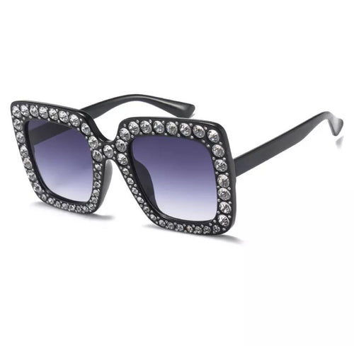 KATIE EMBELLISHED RECTANGLE SUNGLASSES