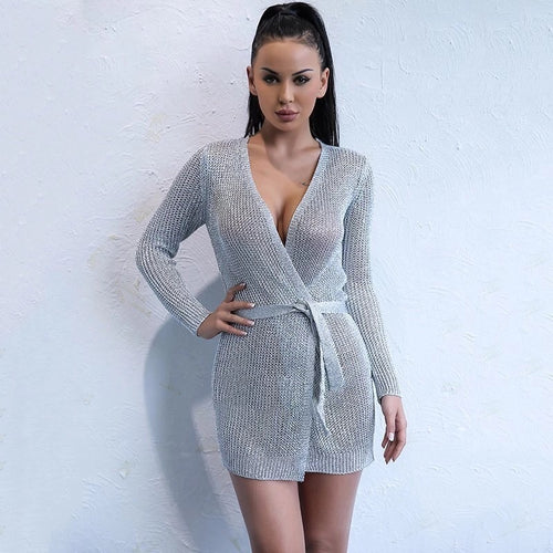 GODDESS SILVER KNITTED DRESS