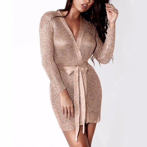 GODDESS ROSE GOLD KNITTED DRESS