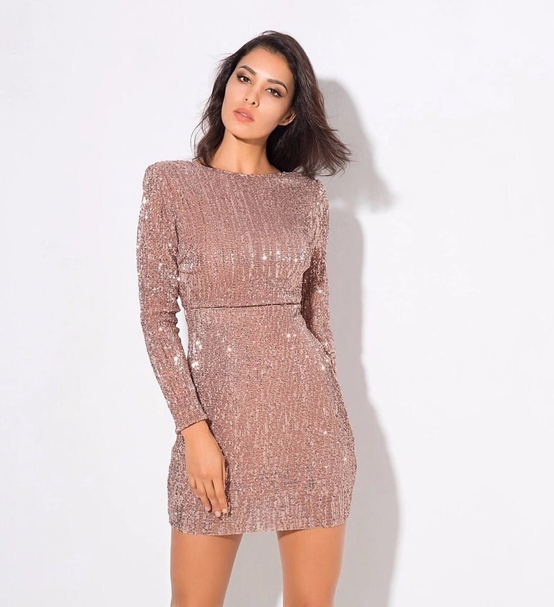 MONITA SEQUIN LONG SLEEVE DRESS