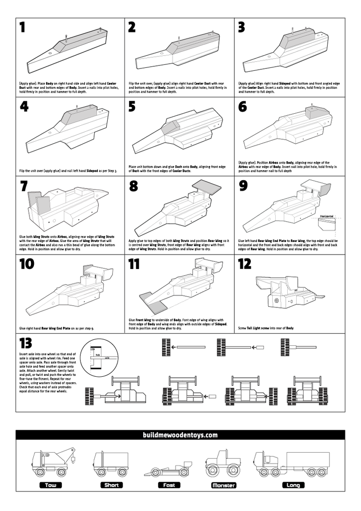 wooden toy racing car instructions