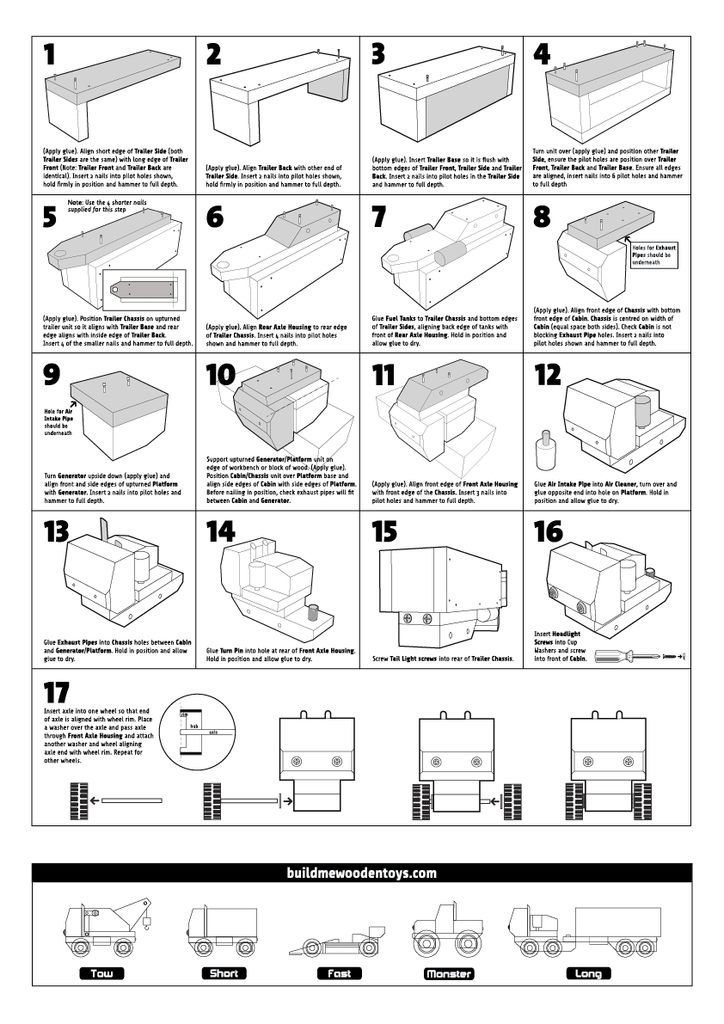 wooden toy truck instructions