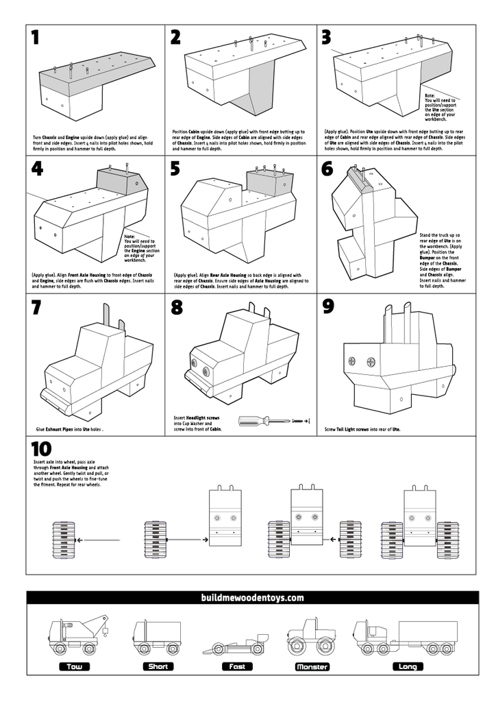 wooden toy monster truck instructions