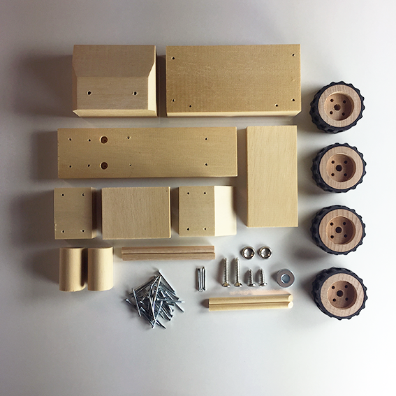 wooden toy truck components