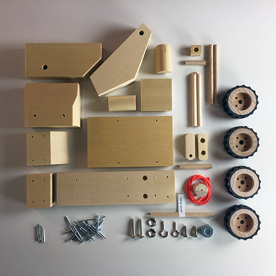 wooden toy tow truck components