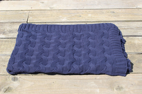 Blue Cable Knit Throw