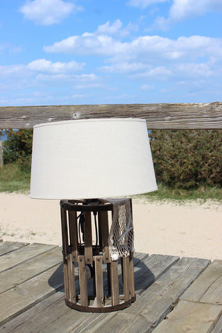 Wooden Lobster Trap Lamp