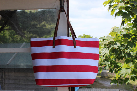 Red and White Striped Beach Bag