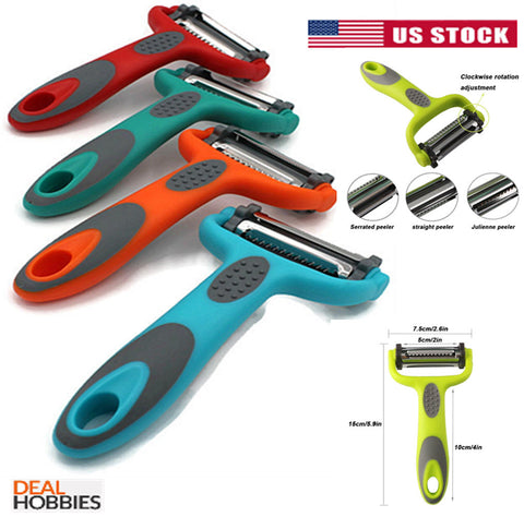Serrated Peeler+Straight Peeler+Julienne Peeler Multi-function 3-In-1 Peeler US
