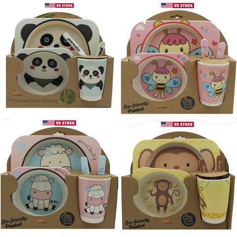 Baby Toddler Plate Set Kids Tableware Baby Bamboo Fiber Bowl Cup Dinnerware Set