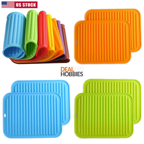 "Silicone Trivets Premium 9""x12"" Big for Hot Dishes Heat Resistant Pot MultiColor"