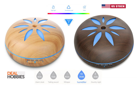 Aroma Essential Oil Diffuser Wood Grain Ultrasonic Aromatherapy Humidifier 550ML