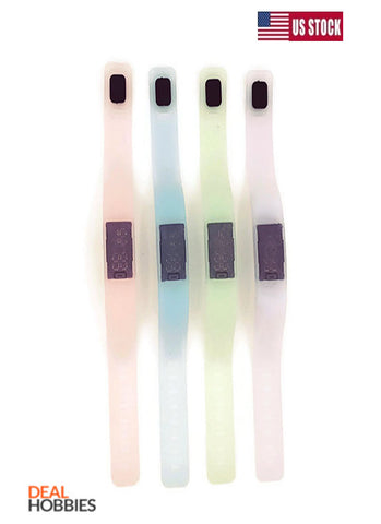 4 Pack Glow In Dark Silicone Rubber Gel Jelly Unisex LED Wrist Watch Bracelet US