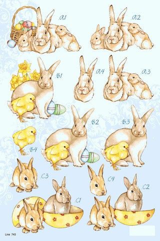 3D Easter Bunnies Die Cut