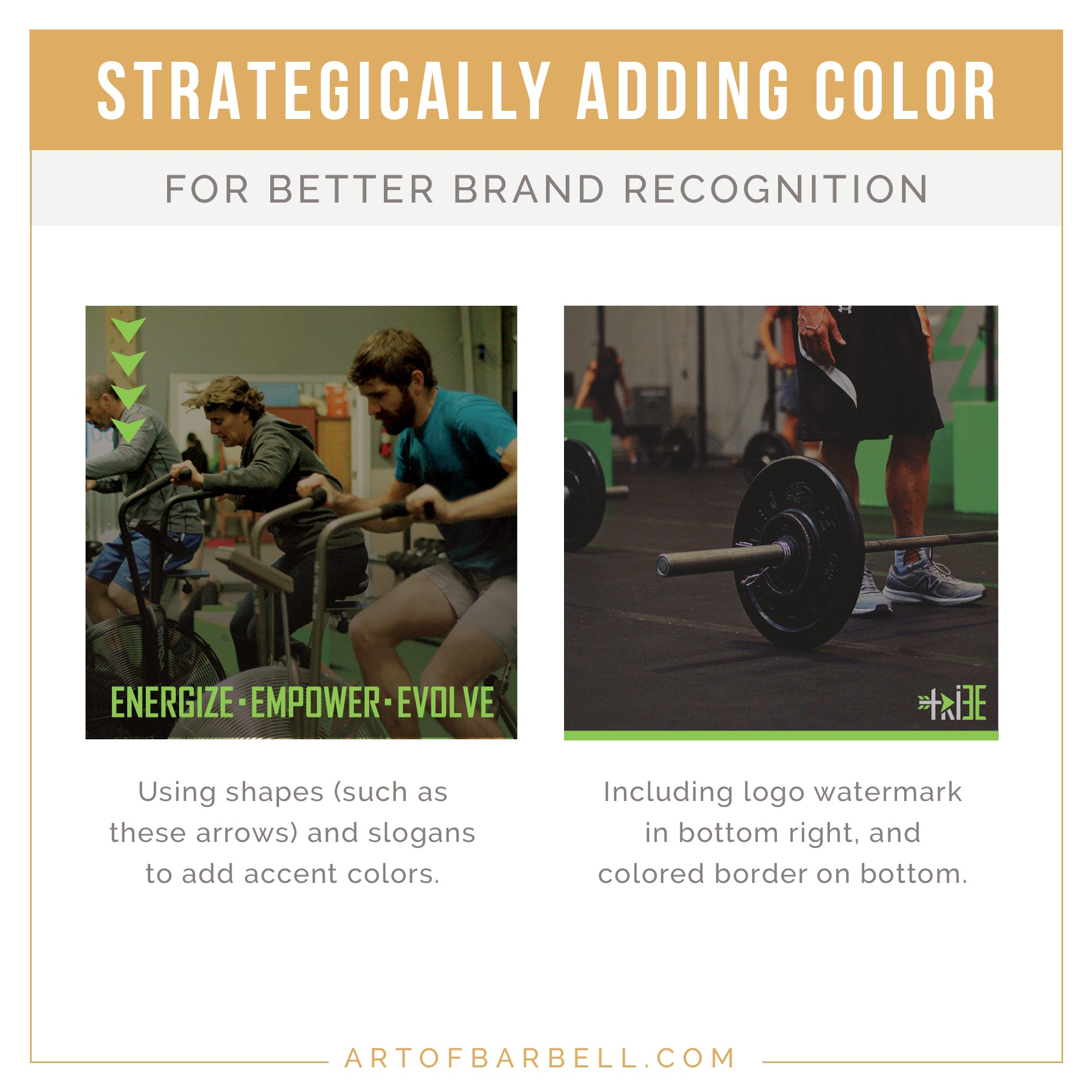 Incorporating lines, shapes and icons with your accent color to better brand your images