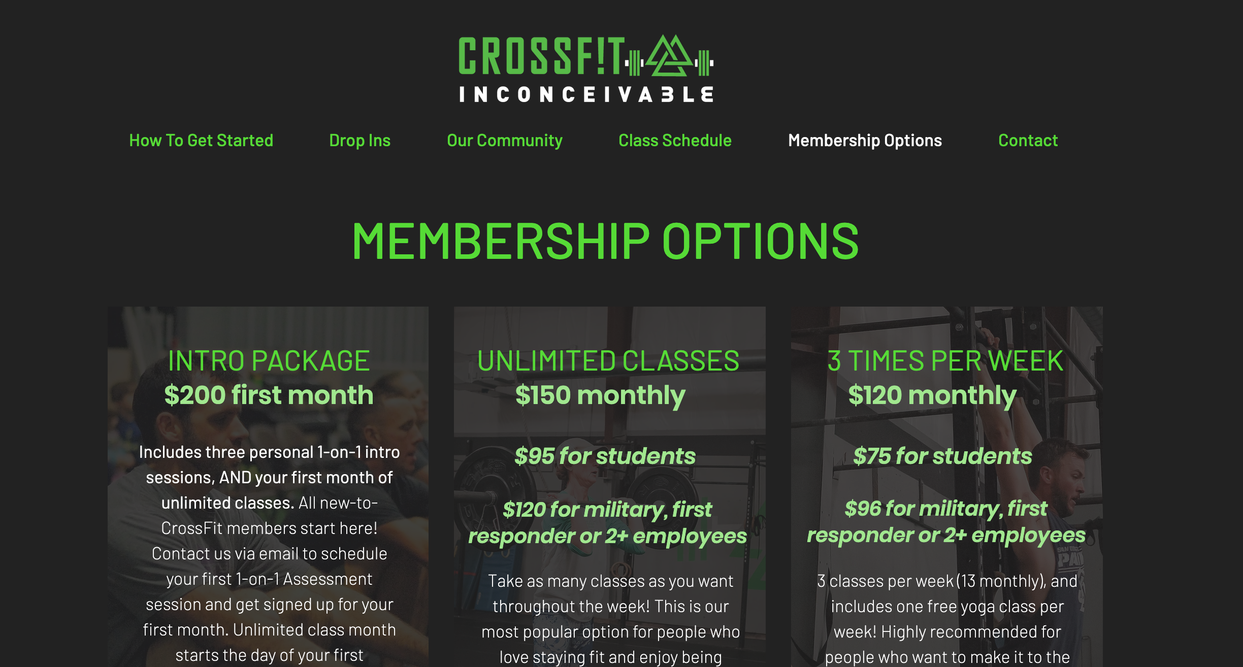 CrossFit Inconceivable Gym Website Design by Art of Barbell
