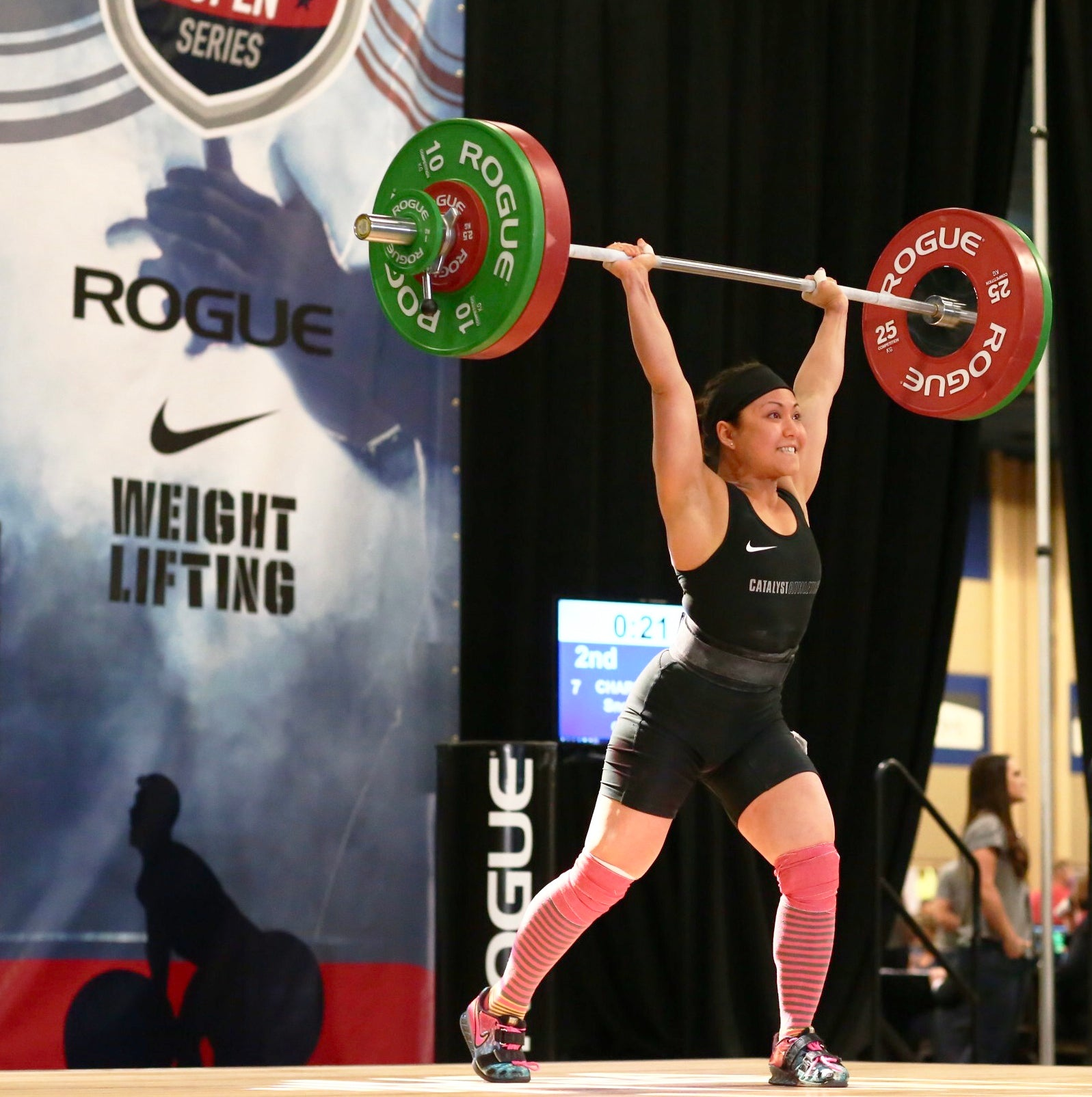 Snow Powers Charpentier of Art of Barbell with a 97kg Clean and Jerk at American Open Series 3