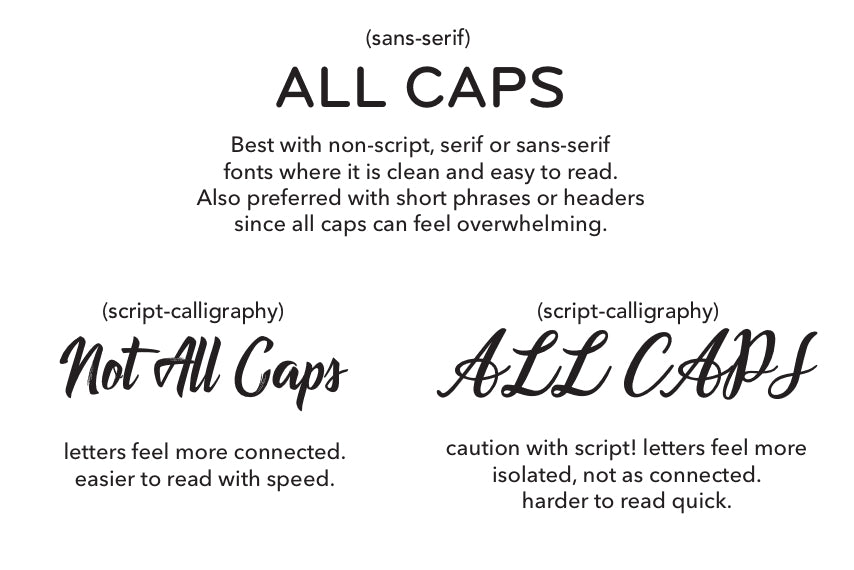 Take caution when using decorative script or handwritten fonts in your designs
