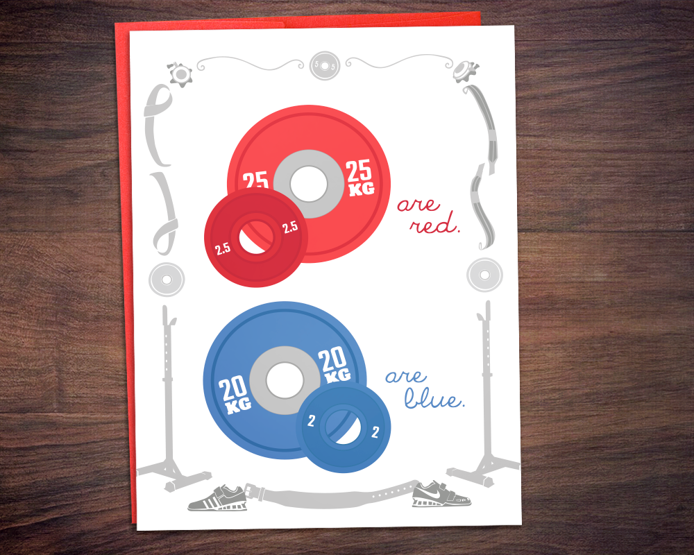 Weightlifting Valentine's Fitness Greeting Card