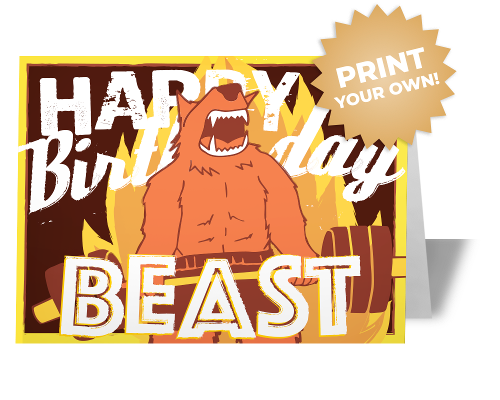 Weightlifting Squat Birthday Card