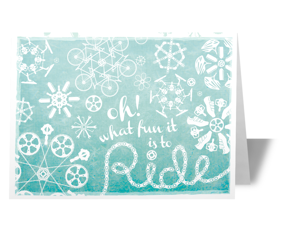 Cycling Snowflake Triathlete Bicycle Cyclist Holiday Greeting Card Gift Idea
